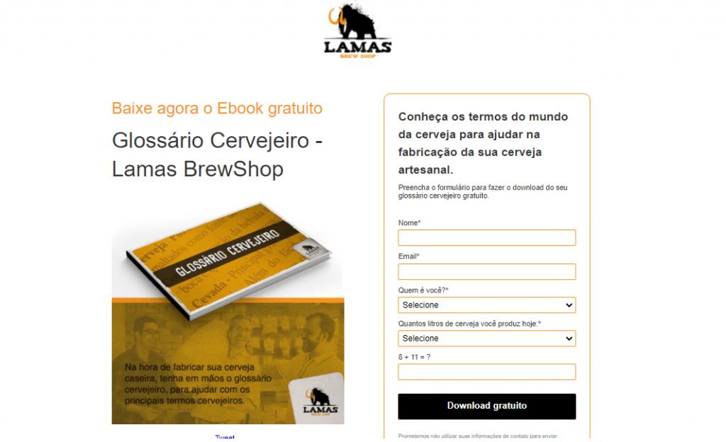 Landing Page exemplo Lamas